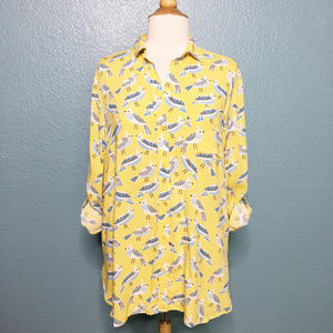beachlunchlounge   Bird Print Button Up Blouse